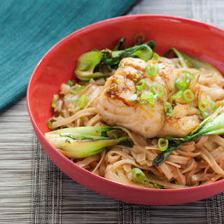 Pan-Seared Cod with Soy Maple Glaze, Baby Bok Choy, and Rice Noodles.