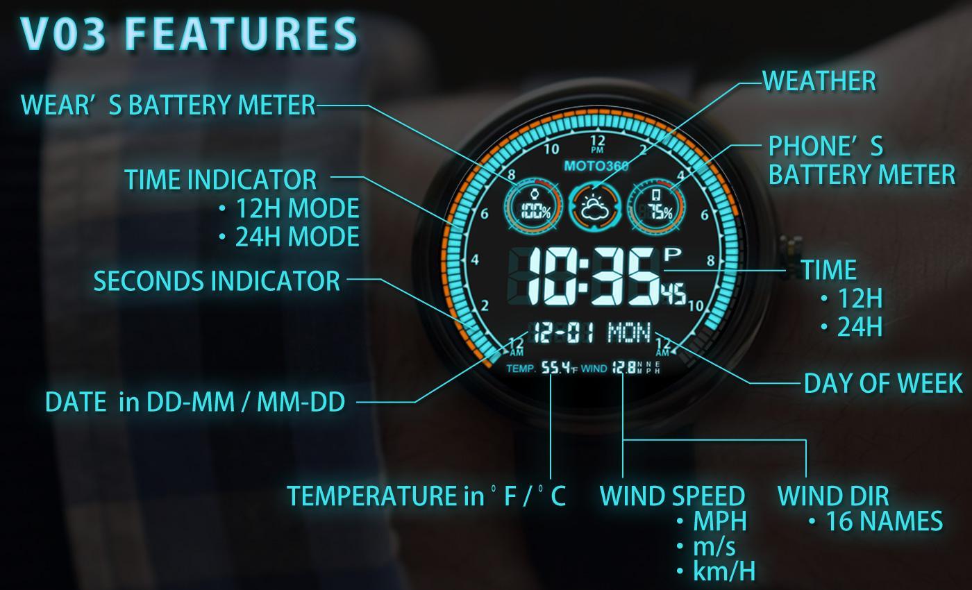 Faces for moto 360 - V03 Watchface For Moto 360 Screenshot