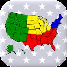 50 Bundesstaaten der USA - Hauptstädte und Karte icon