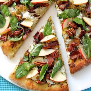 Pesto & Applewood Bacon Pizza w/ Arugula-Apple Salad