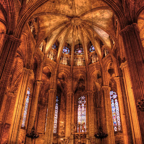 Church of Gothic Quarter, Interior by Prajwal Ullal - Buildings & Architecture Places of Worship ( hdr, church, gothic quater, holy, barcelona, , Architecture, Ceilings, Ceiling, Buildings, Building )