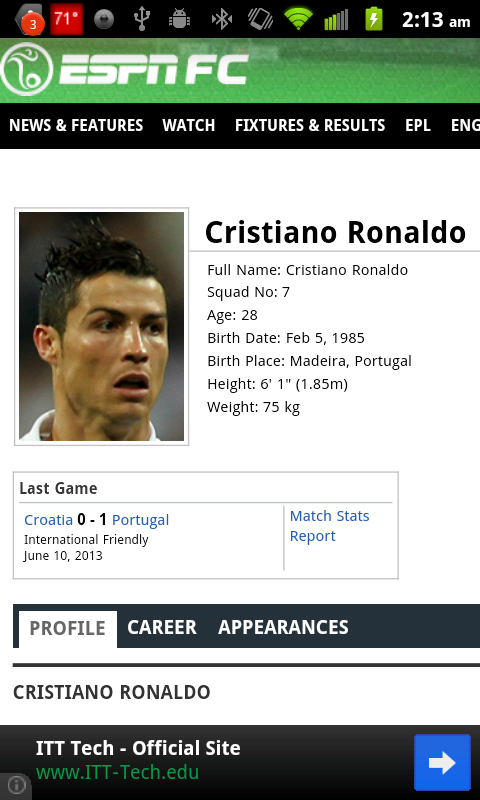 Ronaldo FIFA Widget - screenshot