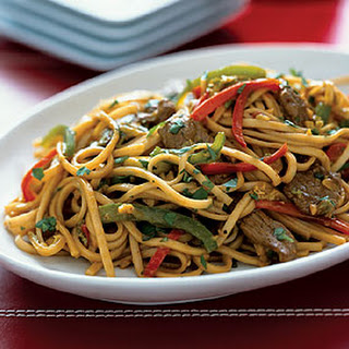 Stir-Fried Noodles with Singapore Lamb Curry.