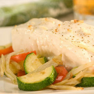 Roasted Halibut With Pepper, Zucchini & Fennel