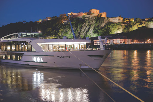 Tauck-InspirationClass-Inspire-at-night - Tauck's luxury river cruise ship Inspire debuted in April 2014 and sails itineraries along the lush, castle-rich riverscapes of the Rhine and Moselle rivers in Europe.
