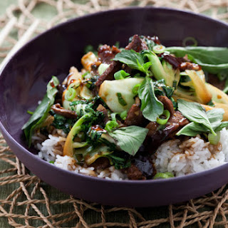 Ginger Beef Stir-Fry with Tatsoi & Jasmine Rice.