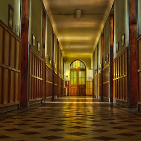 old school by Gerd Moors - Buildings & Architecture Other Interior ( detail, old, wood, floor, hdr, shadow, door, hallway, light,  )