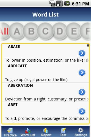 IntelliVocab for SAT,GRE,GMAT- screenshot