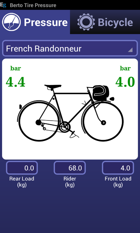 Bicycle Tire Pressure Calc- screenshot