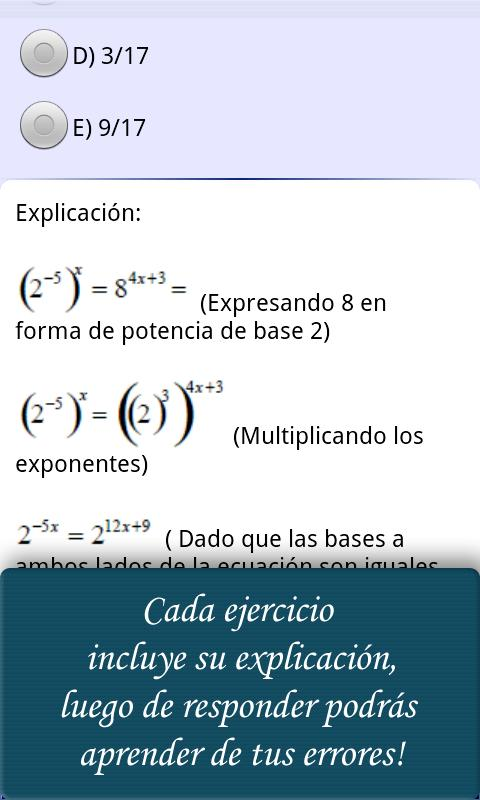 Ayuda PSU Matemáticas - screenshot