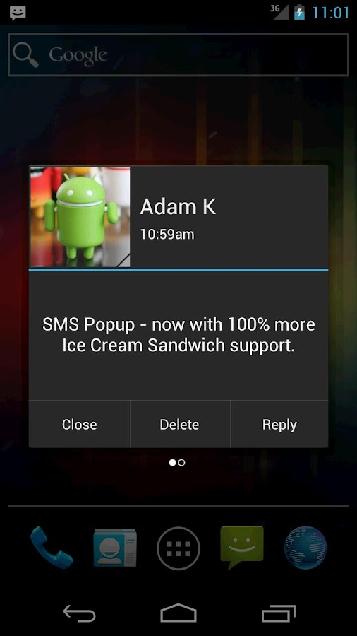 SMS Popup- screenshot