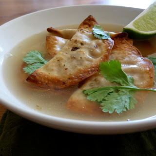 Crispy Butternut Ravioli in Jalapeno Broth.