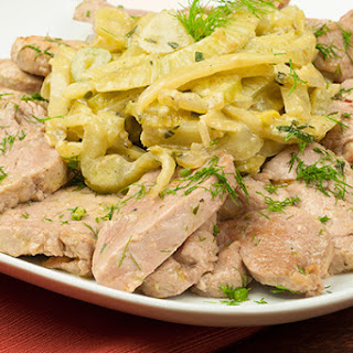 Sautéed Pork Medallions with Creamy Braised Fennel.