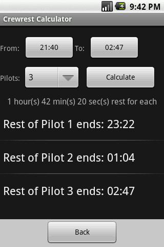 Aviation Crewrest Calculator- screenshot