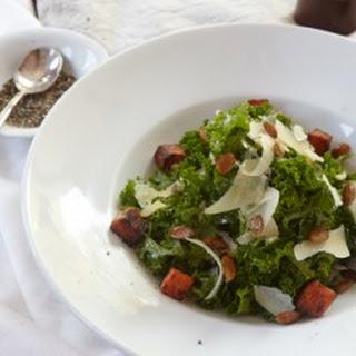 Kale Caesar Salad with Pumpkin Croutons and Spiced Pumpkin Seeds Recipe