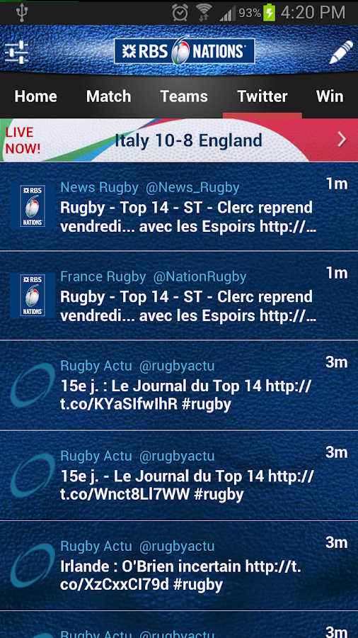 RBS 6 Nations Championship App - screenshot