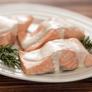 Rosemary Poached Salmon with Spiced Cream Sauce