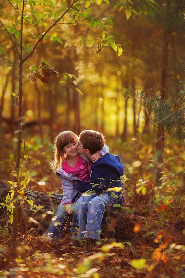 Kisses by Shelby Waltz - Babies & Children Child Portraits ( kiss, kids, autumn colors, smiles, kisses )