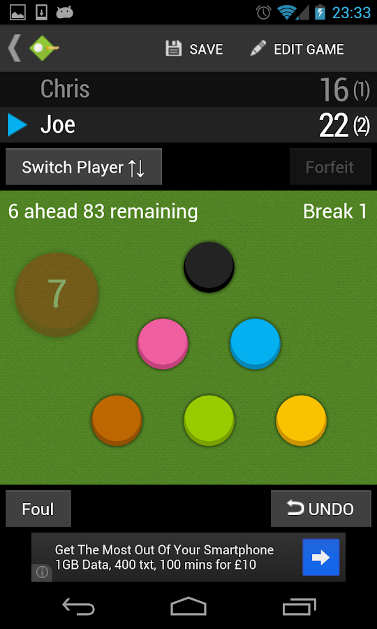 Snooker Scoreboard- screenshot