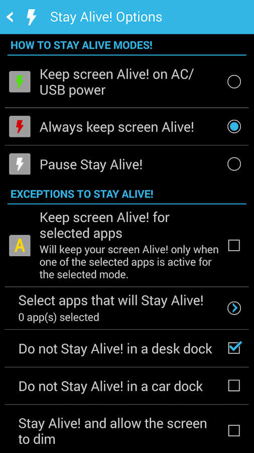 Stay Alive! Keep screen awake - screenshot
