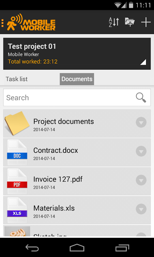Timesheet - Mobile Worker - screenshot