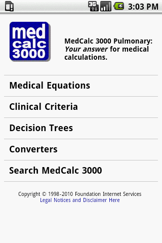 MedCalc 3000 Pulmonary - screenshot