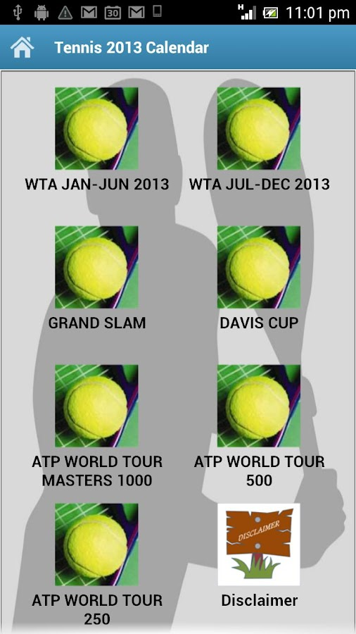 Tennis 2013 Calendar - screenshot
