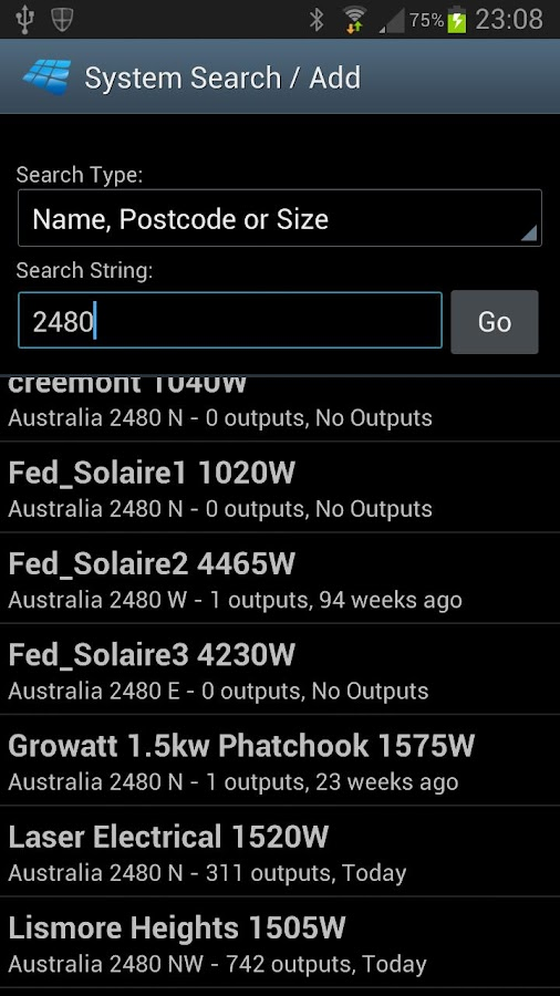 PV Output - screenshot