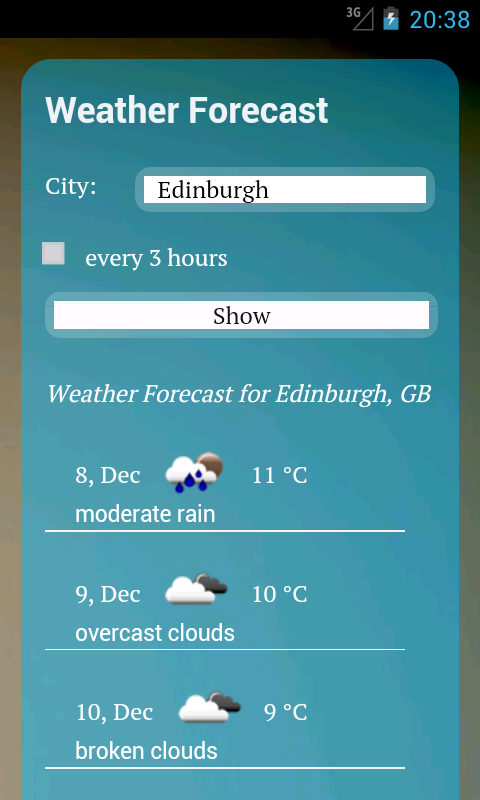 UK Weather - 7 day forecast - screenshot