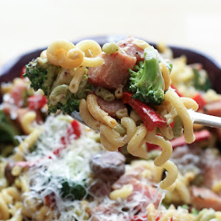 Ham and Vegetable Pasta Skillet with a Light Cream Sauce.