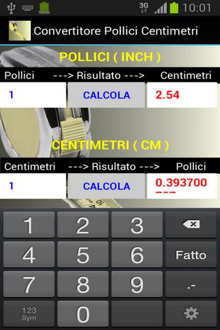 calcolatore pollici centimetri