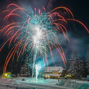 by Veronika Kovacova - Landscapes Travel ( new, nature, montana, essex, fireworks, izaak walton inn, night, year, light, glacier national park )