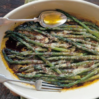 Baked Asparagus with Parmesan and Balsamic Vinegar.