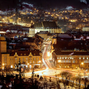 Brasov by Bogdan Melinte - City,  Street & Park  Historic Districts ( night, city, brasov )