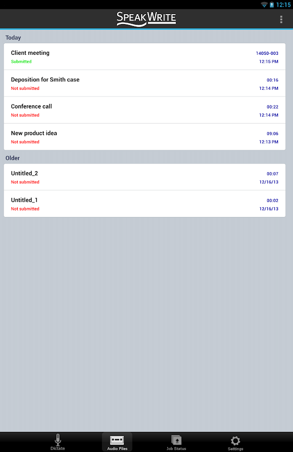 SpeakWrite Recorder- screenshot