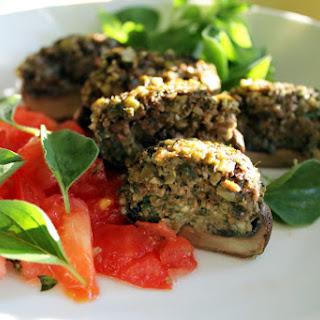 Pumpkin Seed Pesto Stuffed Mushrooms [Vegan, Gluten-Free].