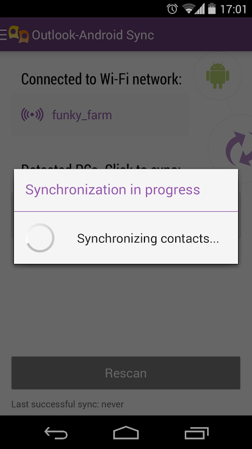 Outlook-Android Sync - screenshot