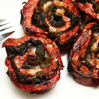 Grilled Stuffed Flank Steak With Roasted Chilies and Pepper Jack Cheese