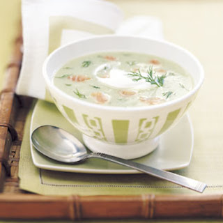 Chilled Cucumber Soup with Smoked Salmon and Dill.
