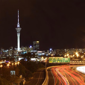 Auckland City at night by Anita Elers-Cooper - City,  Street & Park  Night ( auckland, city lights, skytower, new zealand, nightlife )