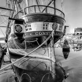 CONSTALLATION by RomanDA Photography - Transportation Boats ( water, 2014, boats, baltimore, reflections, bridge, sunrise, spring,  )
