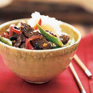 Black Bean Beef with Green Beans.