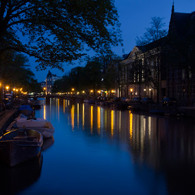 Amsterdam Stroll by Elske DeGroot - City,  Street & Park  Night ( reflections, city lights, amsterdam, canal, nightscape, city, night, city at night, street at night, park at night, nightlife, night life, nighttime in the city )