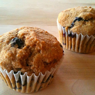 Whole Wheat Fresh Blueberry Muffins.