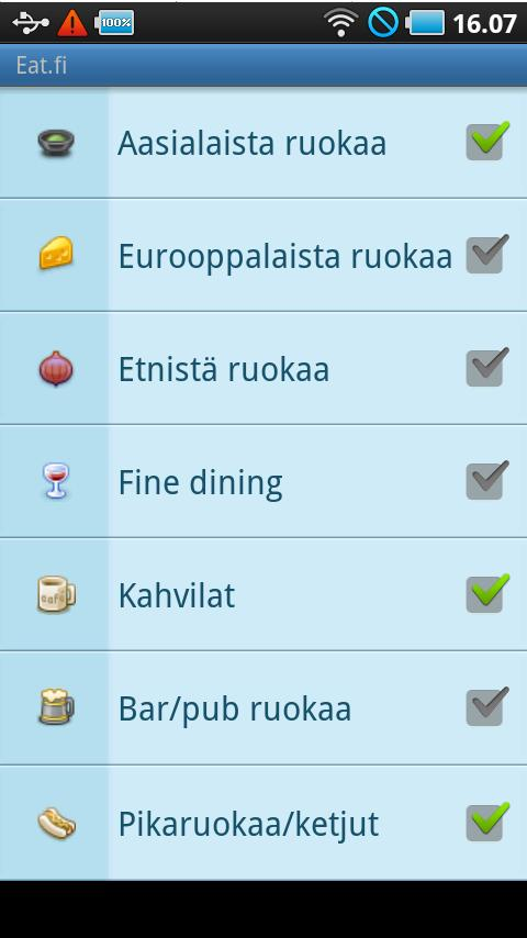 Eat.fi - Restaurant search- screenshot
