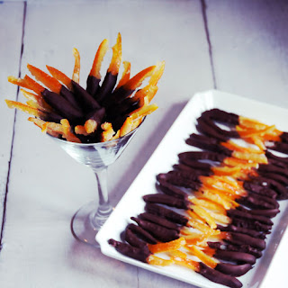 Candied Orange Rinds Dipped In Dark Chocolate.