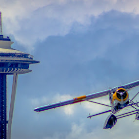 Needle and a Plane by Stanton Hunter - Buildings & Architecture Other Exteriors ( washington, space needle, plane, seattle, take off, architecture, sea plane )