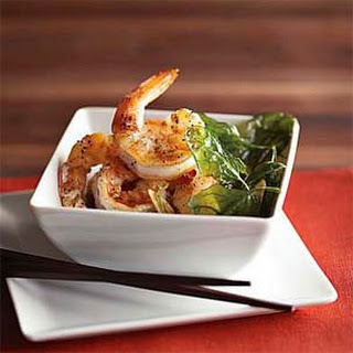 Salt & Pepper Shrimp with Fried Spinach