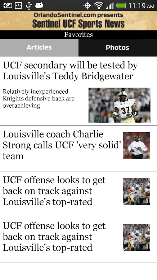 Orlando Sentinel UCF Sports - screenshot