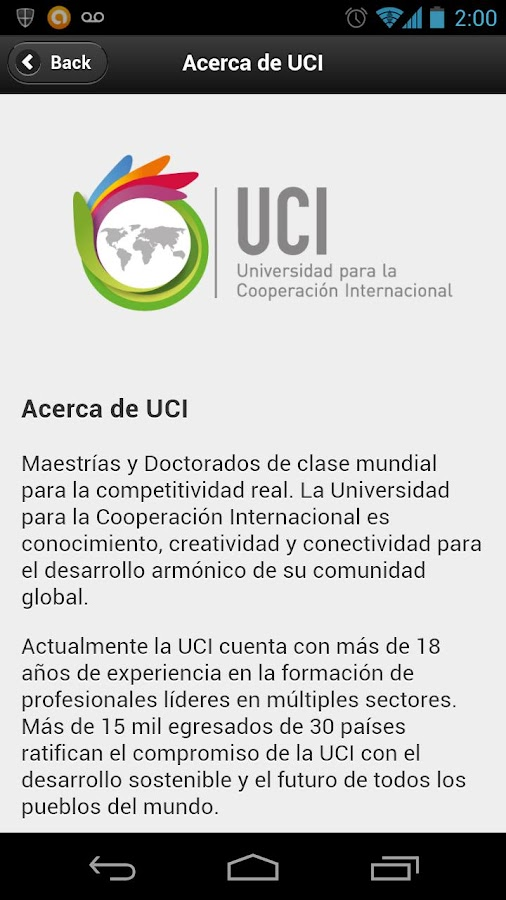 UCI - Universidad- screenshot